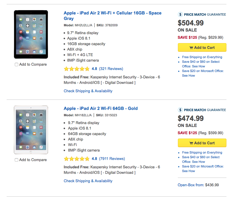 Best Buy offering $125 off iPad Air 2, $100 off iPad mini 4