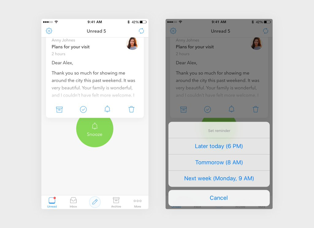 Weed through your emails with natural gestures in Morning Mail for iPhone