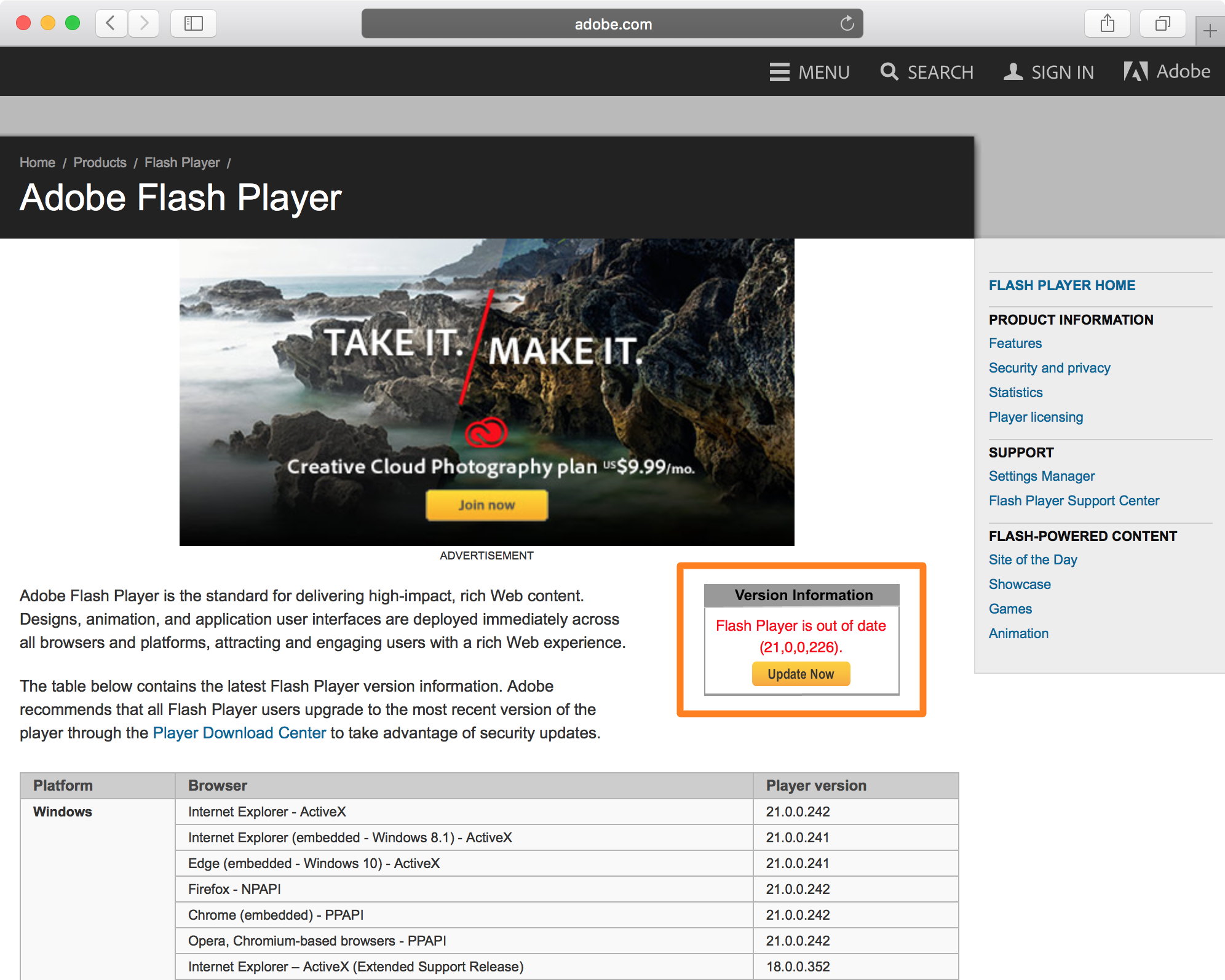 flash player manual update