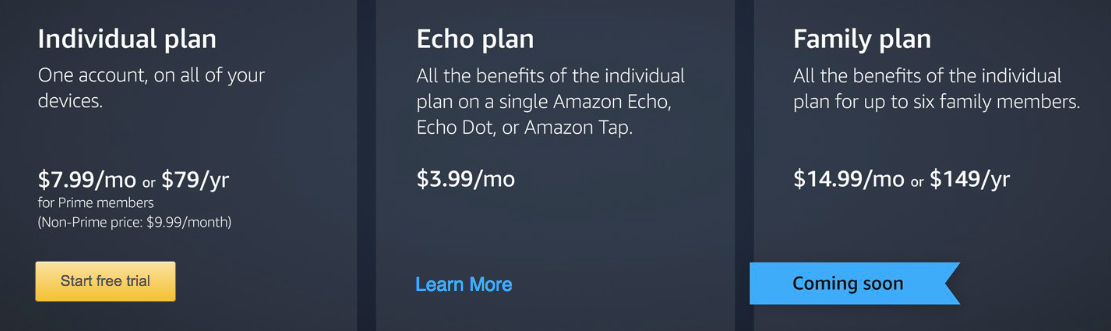 Amazon Music Unlimited launches: $9 99 per month, $3 99 for