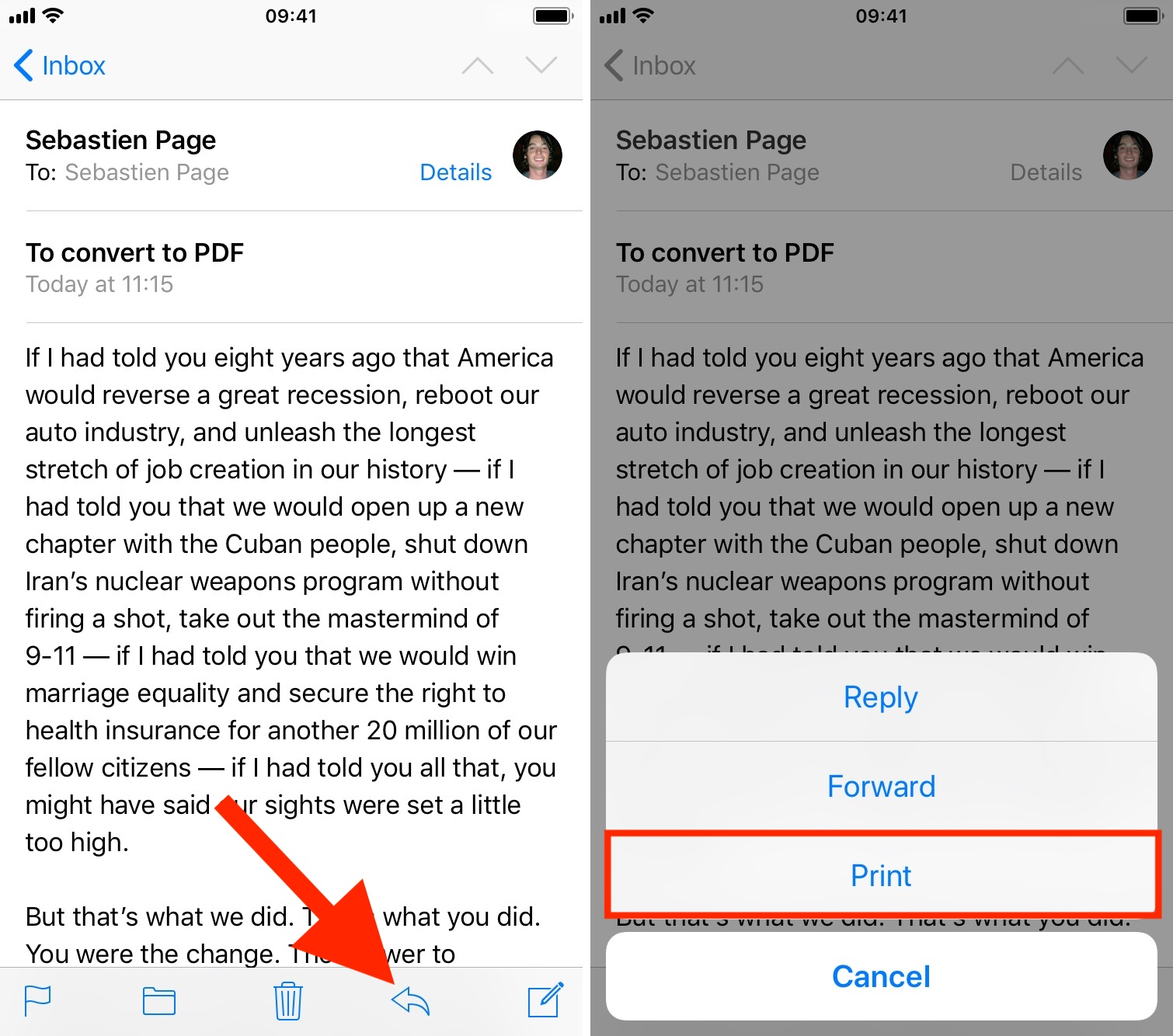 Print email to PDF on iPhone
