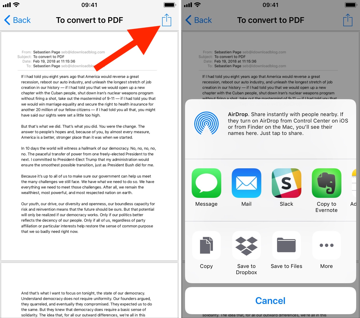 Share or saved email PDF