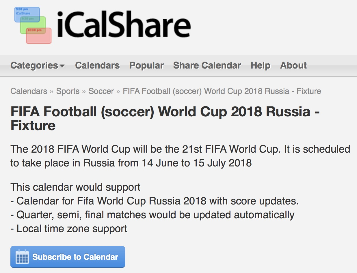 FIFA Football World Cup 2018 Russia calendar