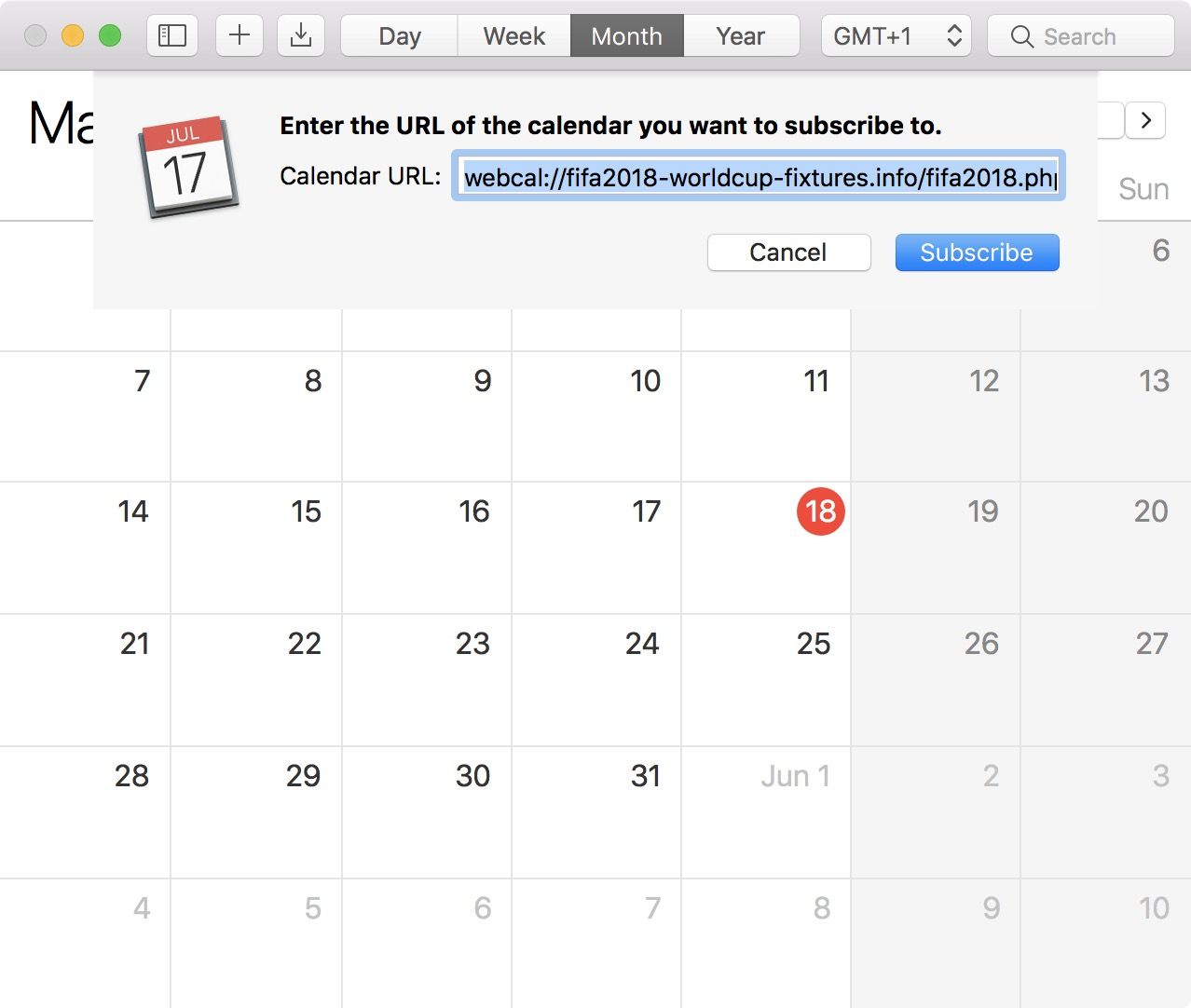 Subscribe to FIFA calendar on Mac