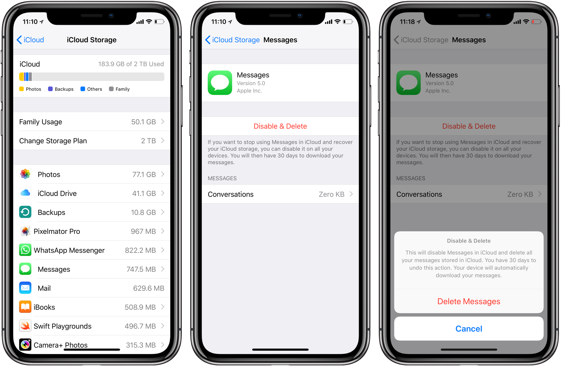 how to delete messages on iphone from another device