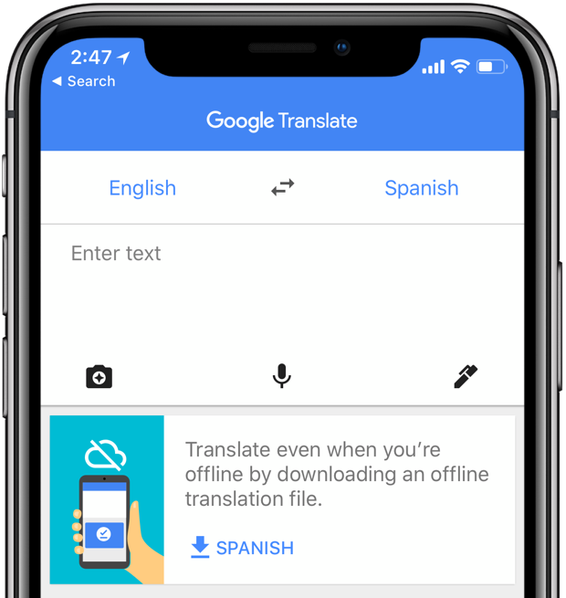 Google Translate for iPhone: a banner inviting the user to download language packs for offline support