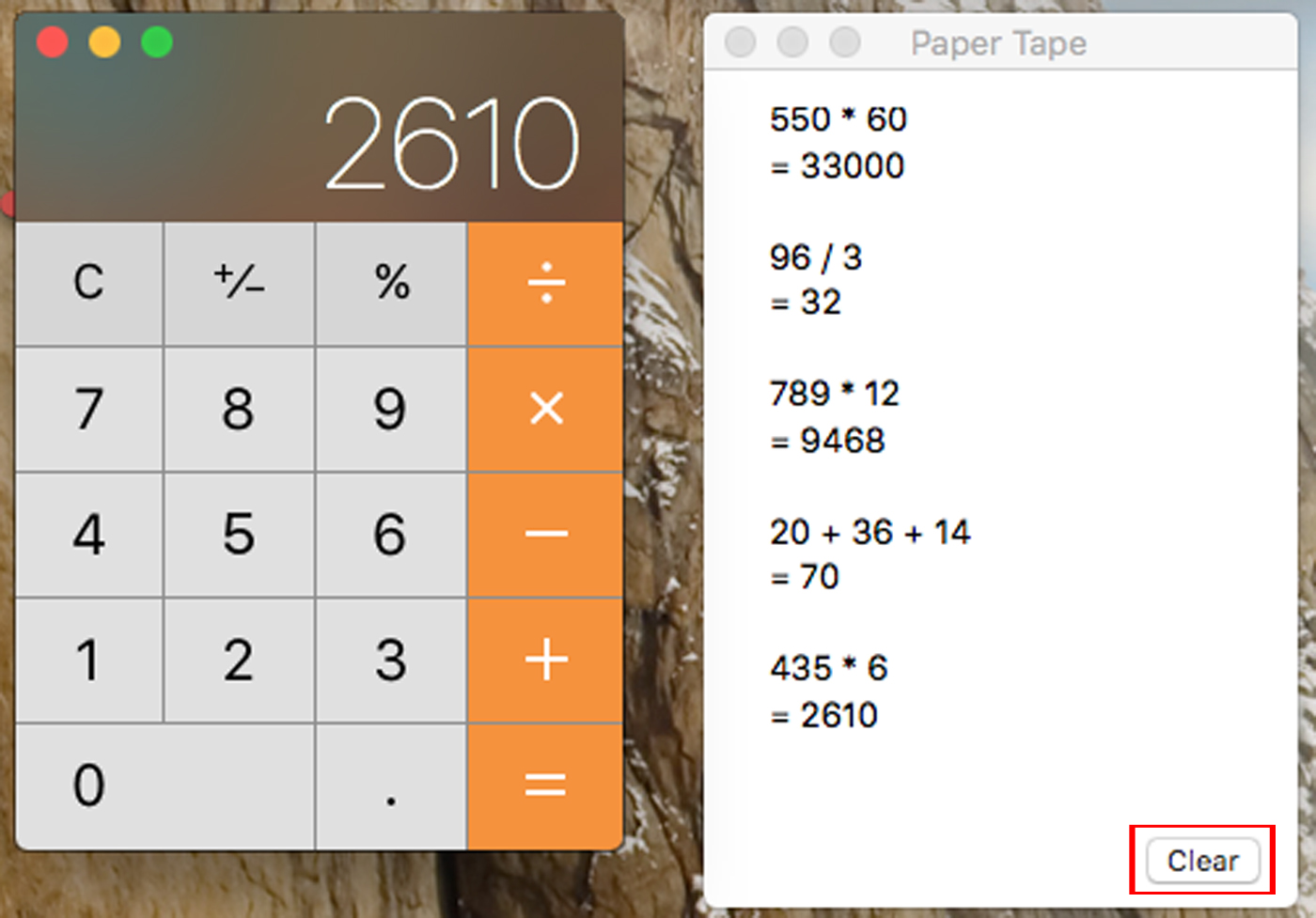 Mac Calculator App Tape Clear