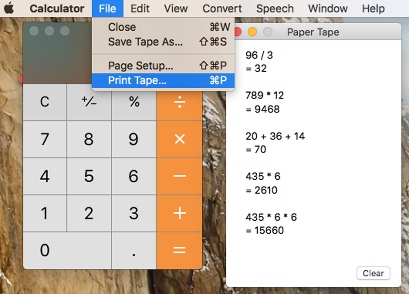 Print Mac Calculator Tape