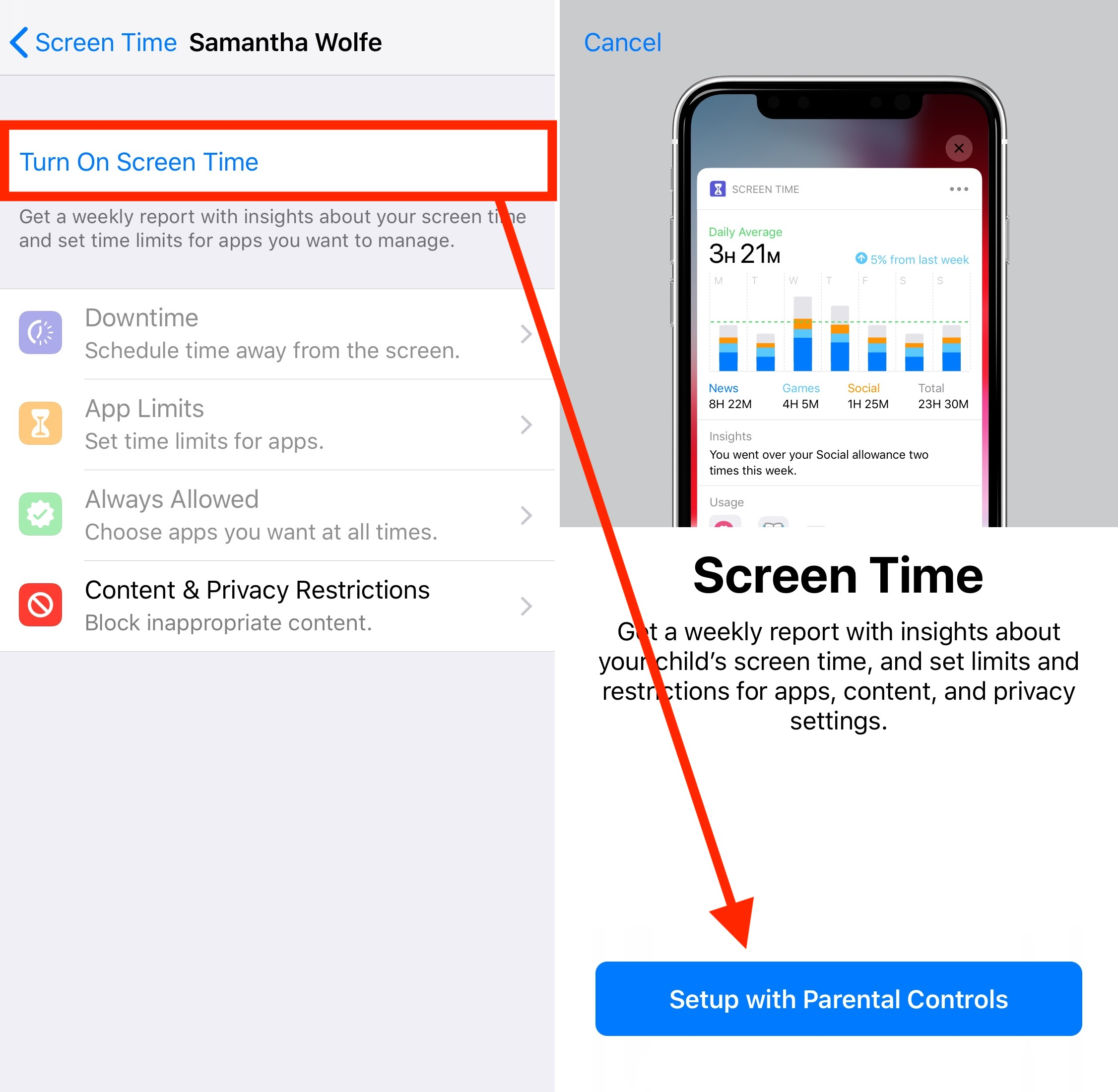 Screen Time Turn On