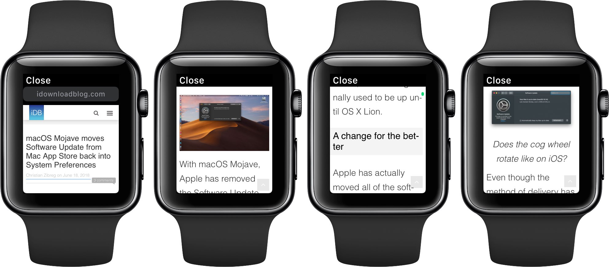 watchOS 5's WebKit engine renders the text and images, but not videos