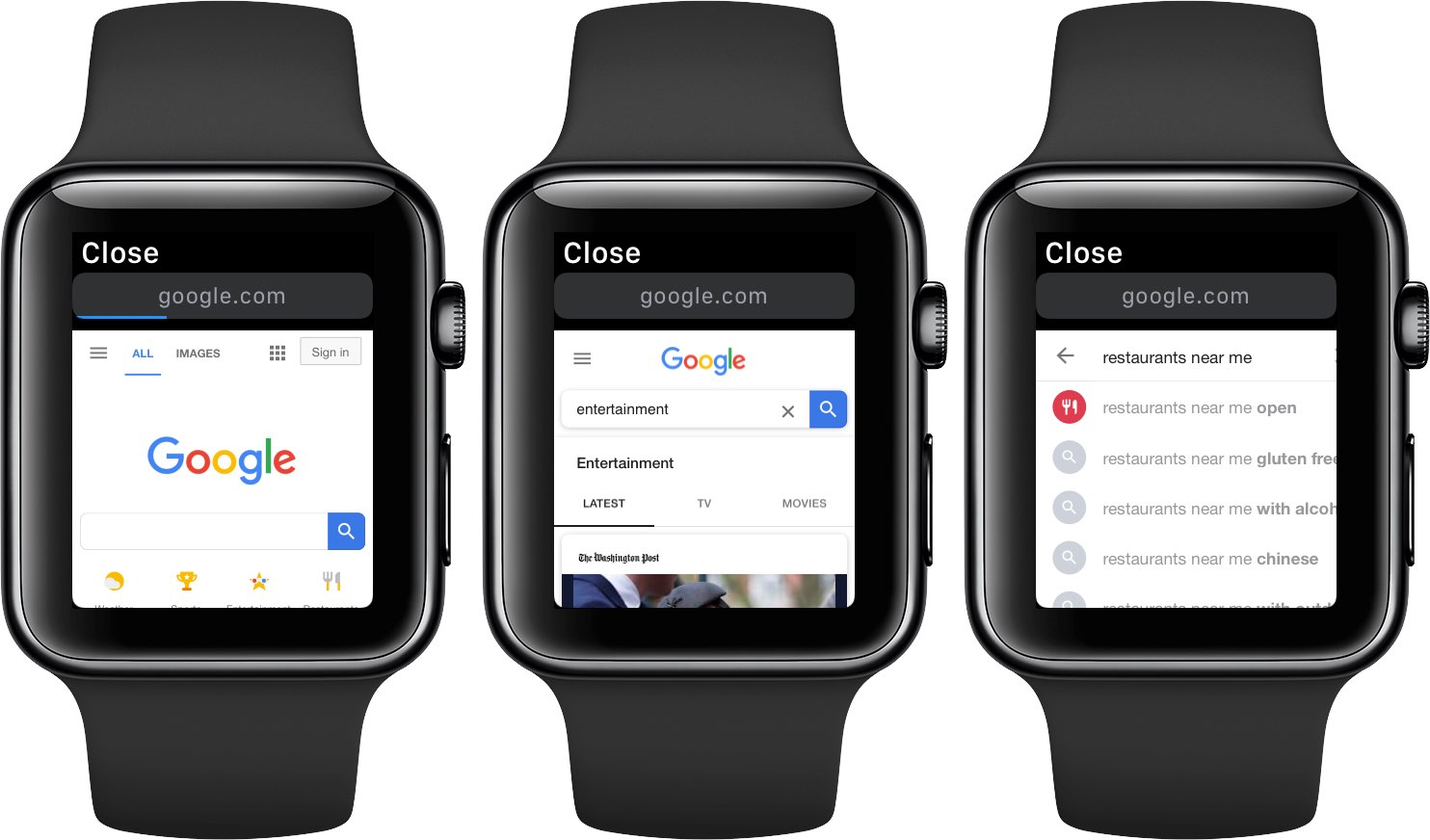 Browsing the web with Google on watchOS 5