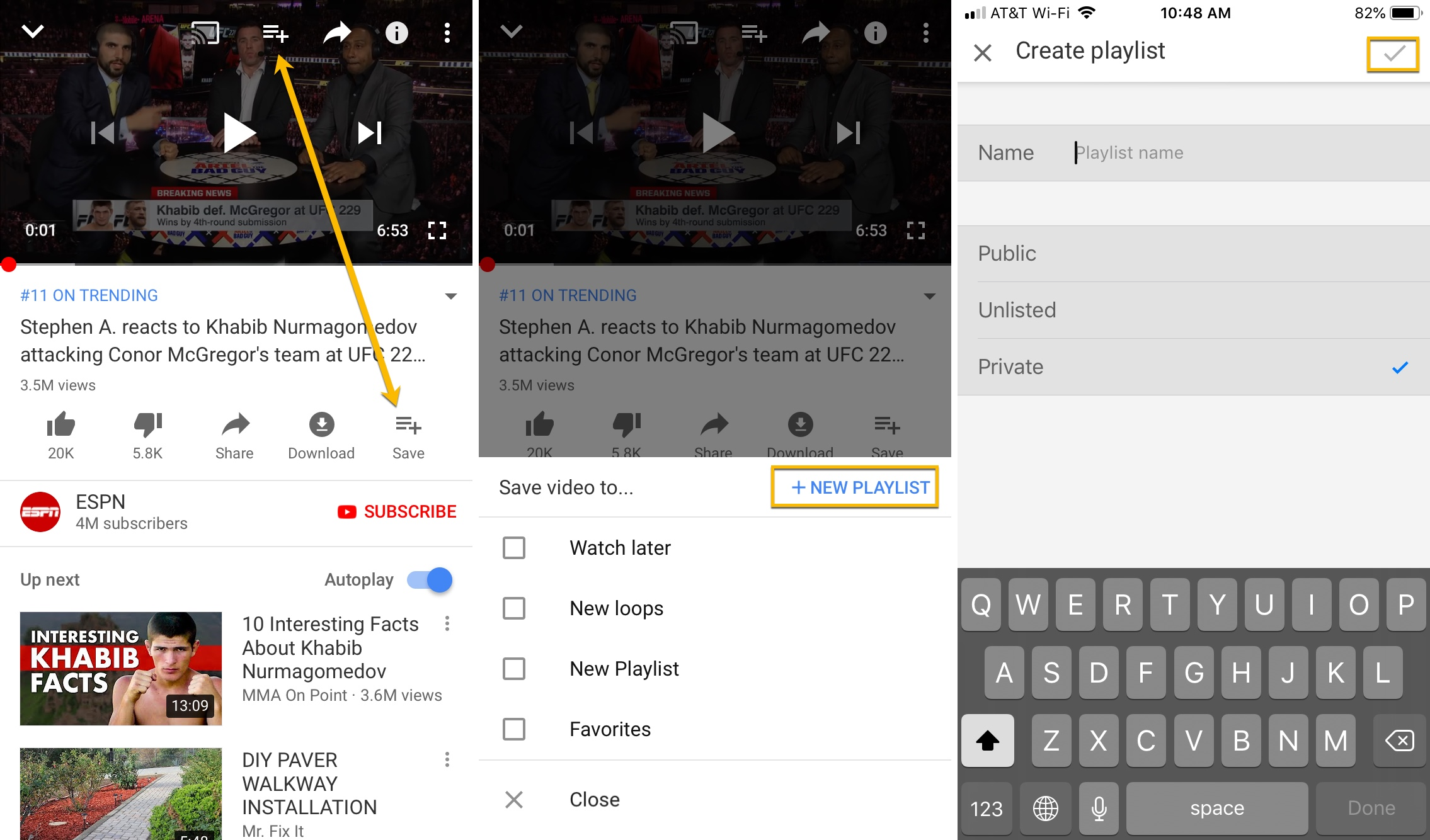 YouTube App iPhone New Playlist