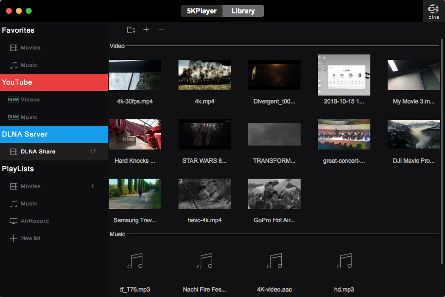 5KPlayer brings multiscreen playback, DLNA, Internet radio more to