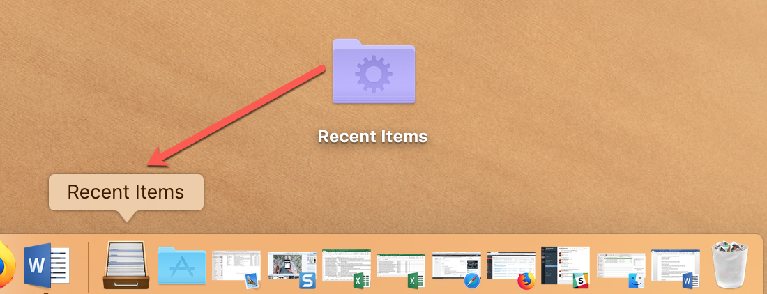 Drag recently opened files folder in Dock