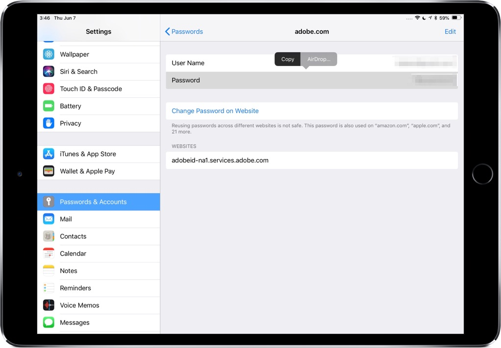 AirDrop passwords - iPad screenshot