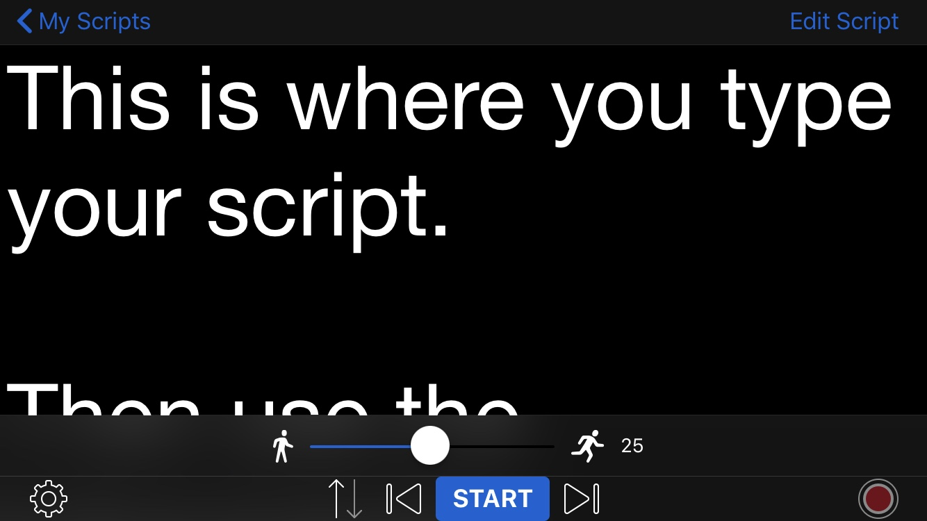 Teleprompter Lite Landscape on iPhone