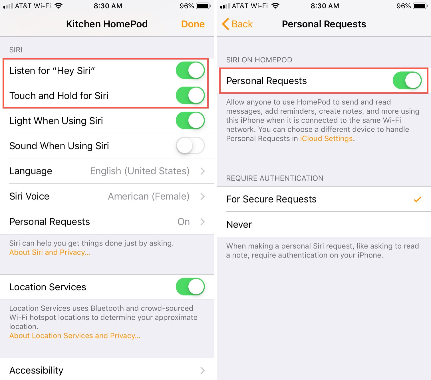 Enable Siri and Personal Requests on iPhone