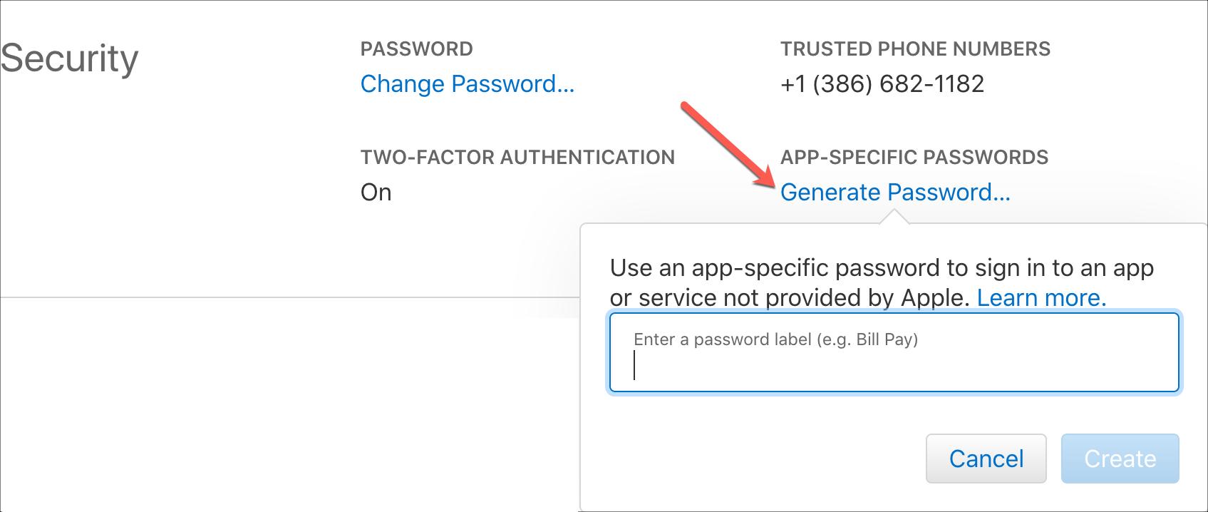 Generate App Specific Password for Apple ID