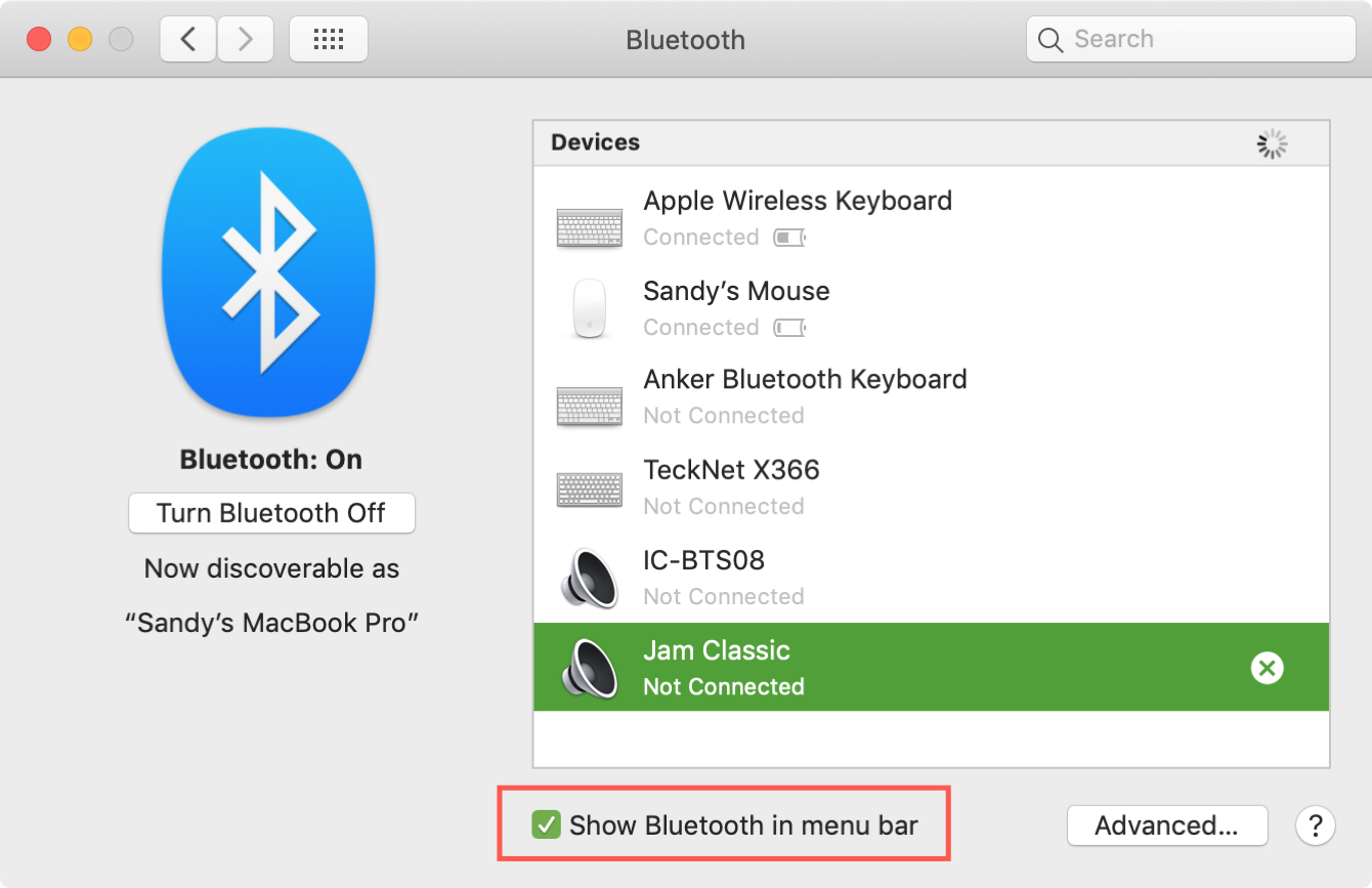 Show Bluetooth in Menu Bar Box