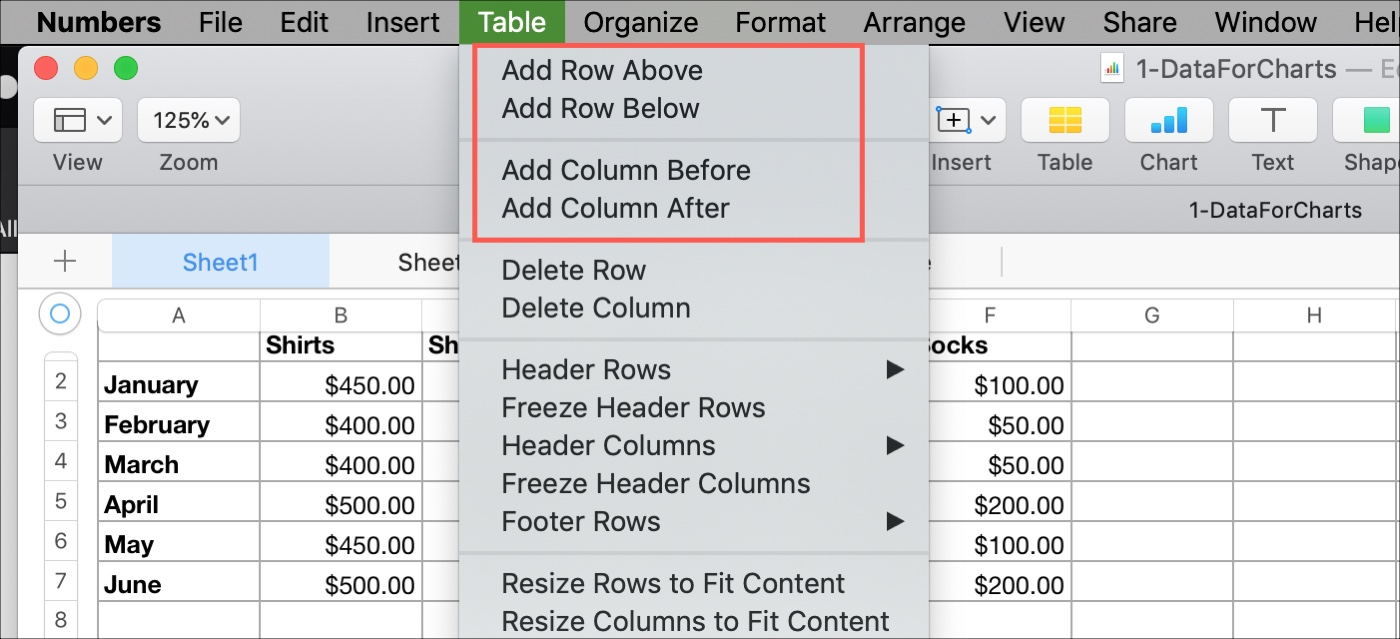 Add a Column or Row in Numbers on Mac