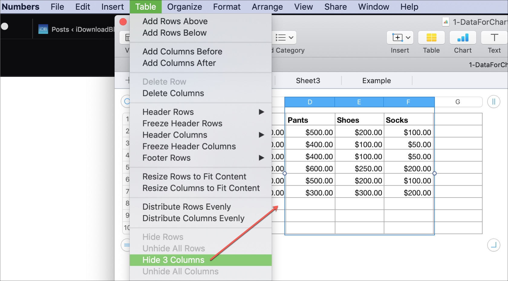 Hide Columns in Numbers on Mac