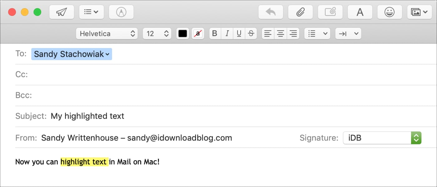 how to highlight text in mac email