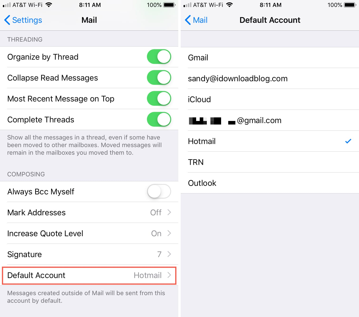 Default Email Account on iPhone