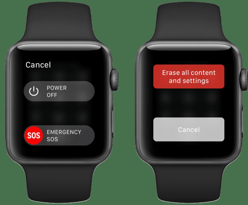 Reset Apple Watch Power Menu