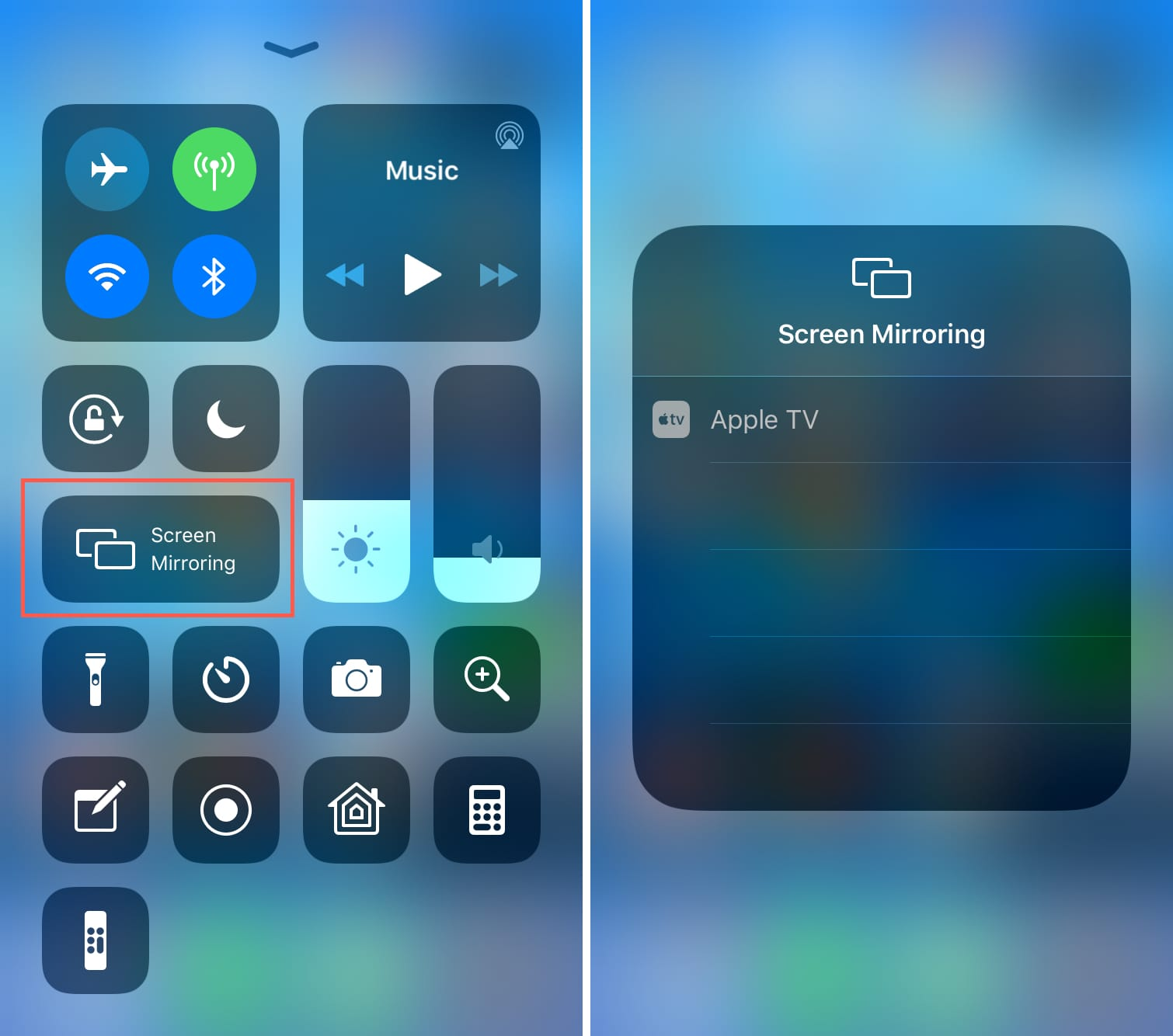 Start Screen Mirroring to Apple TV from iPhone