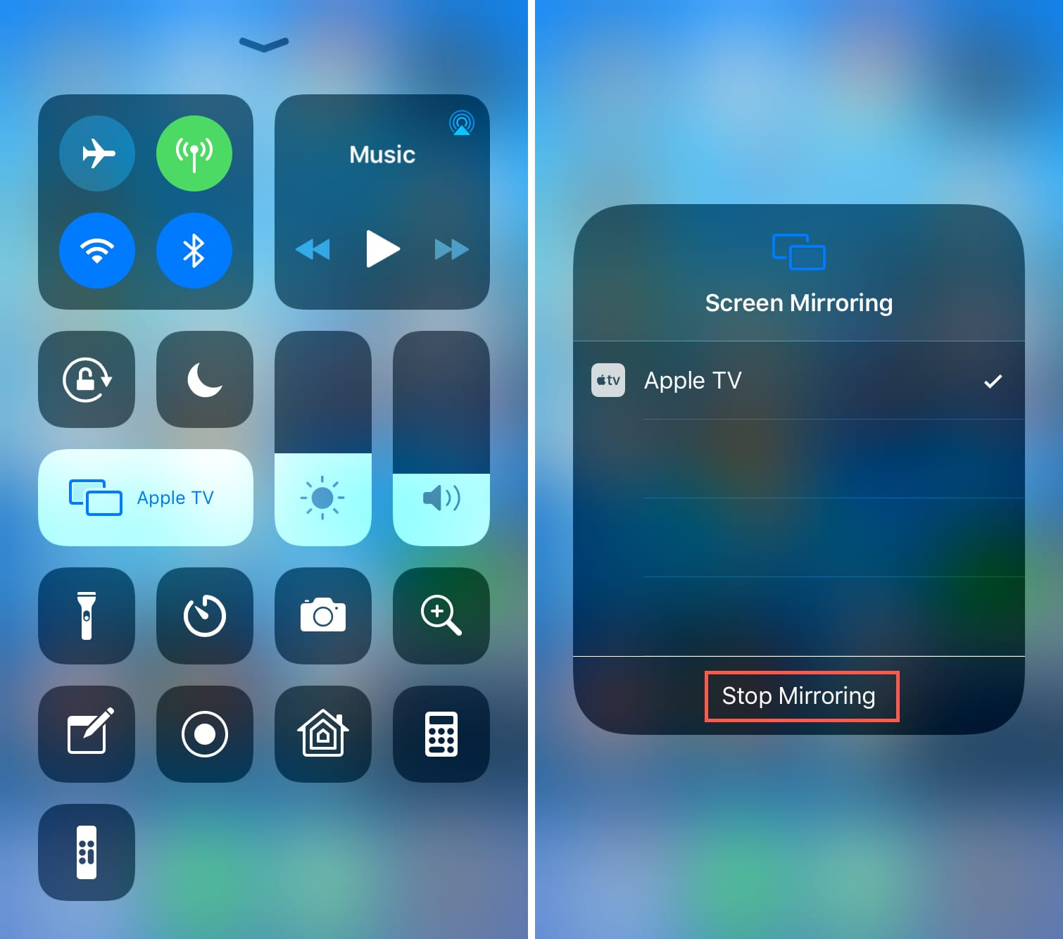 Stop Screen Mirroring to Apple TV from iPhone