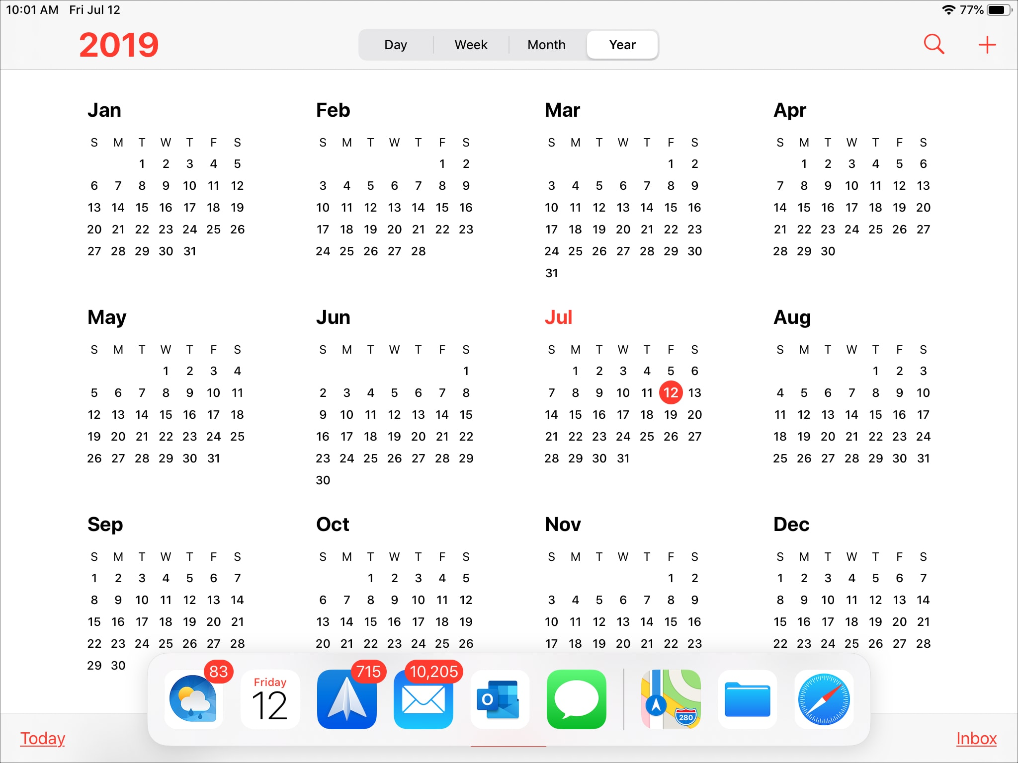 Calendar on iPad Open Dock