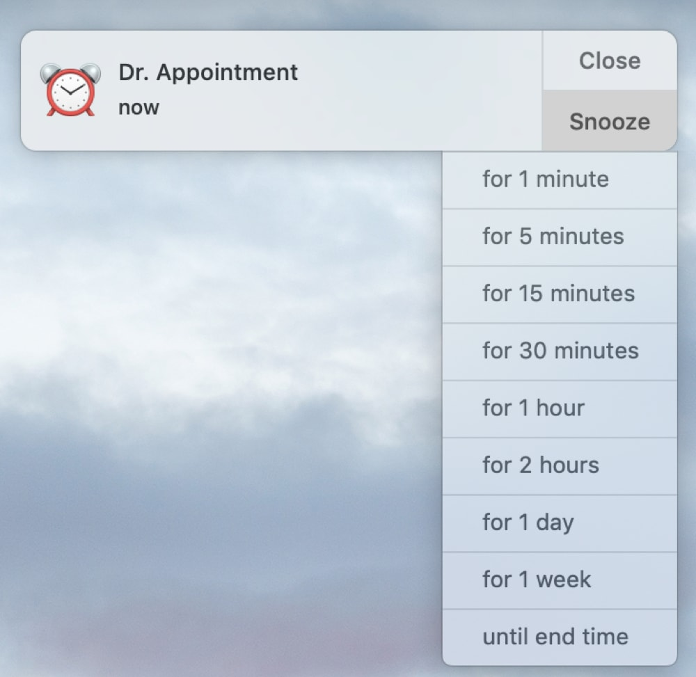Pick Snooze for Calendar Event Mac