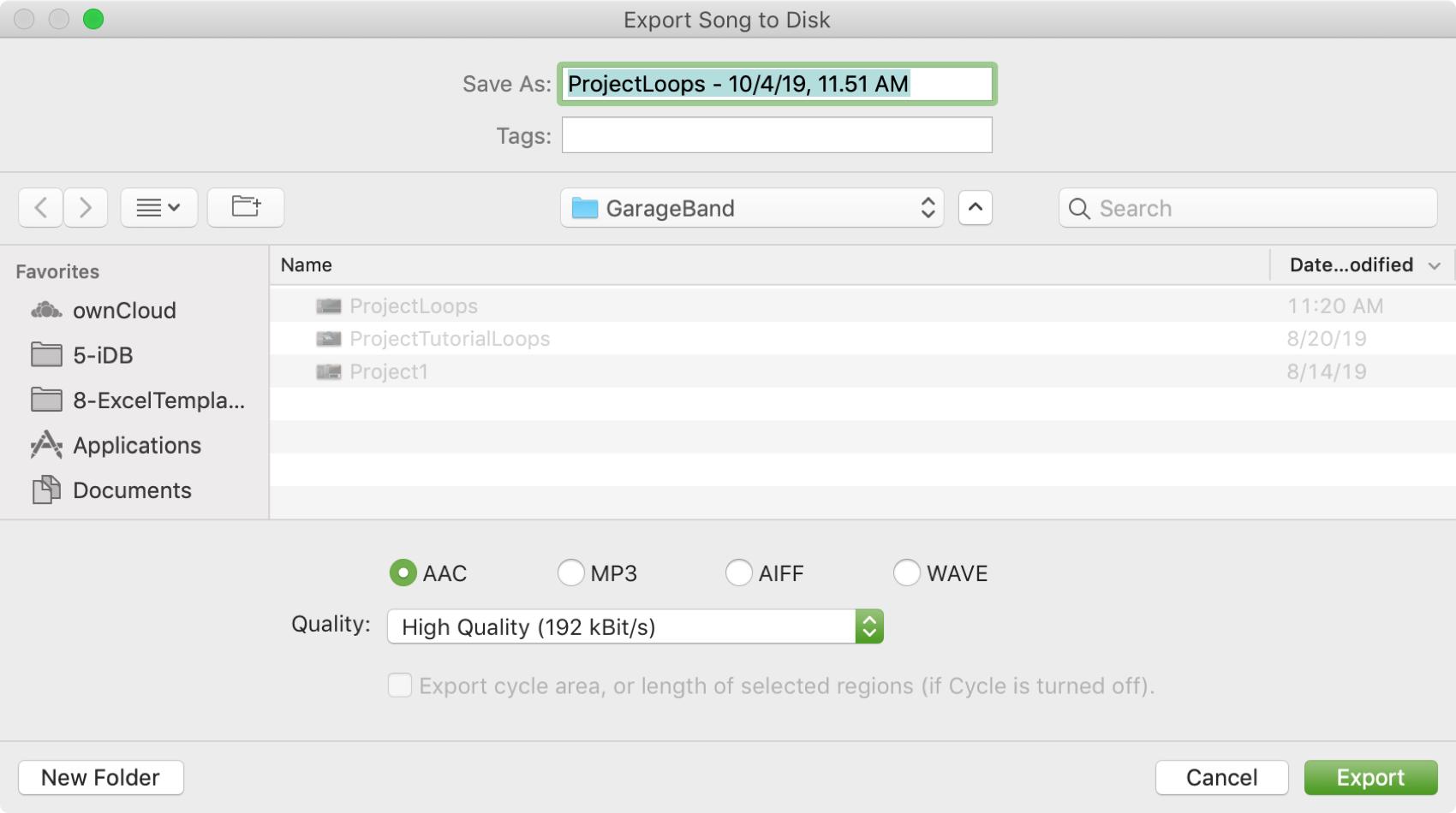 GarageBand Export to Disk Mac