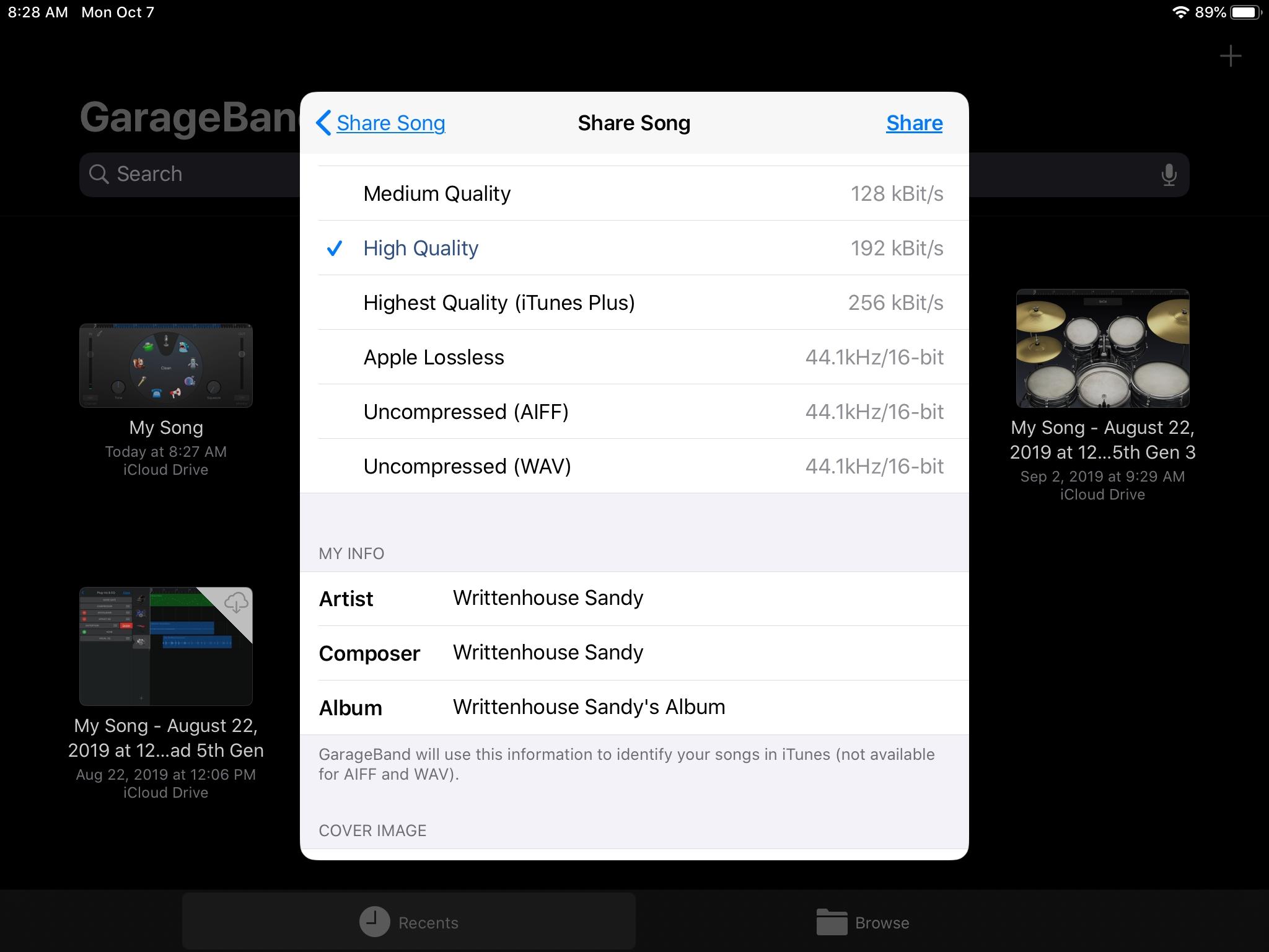 GarageBand Share Song iPad