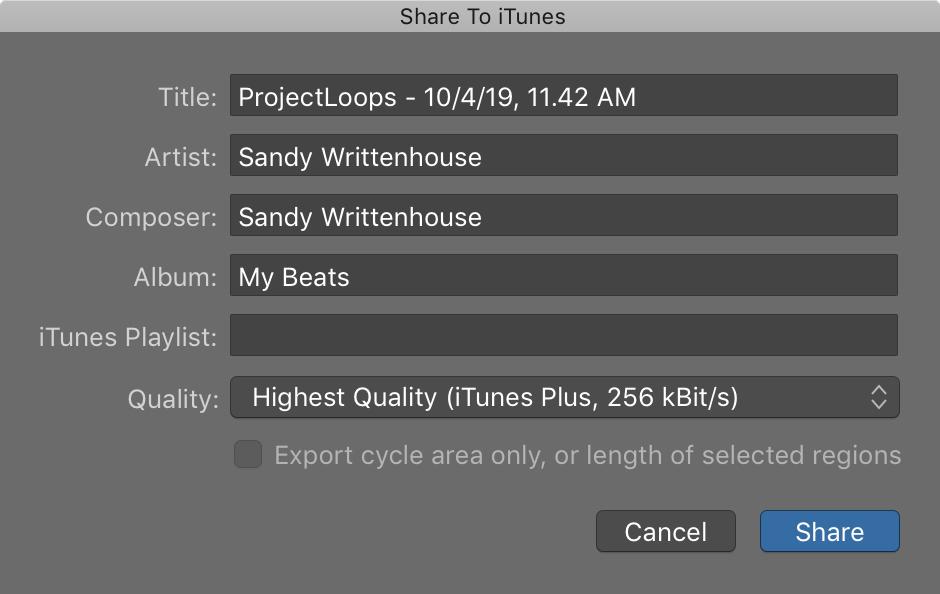 GarageBand Share to iTunes Mac