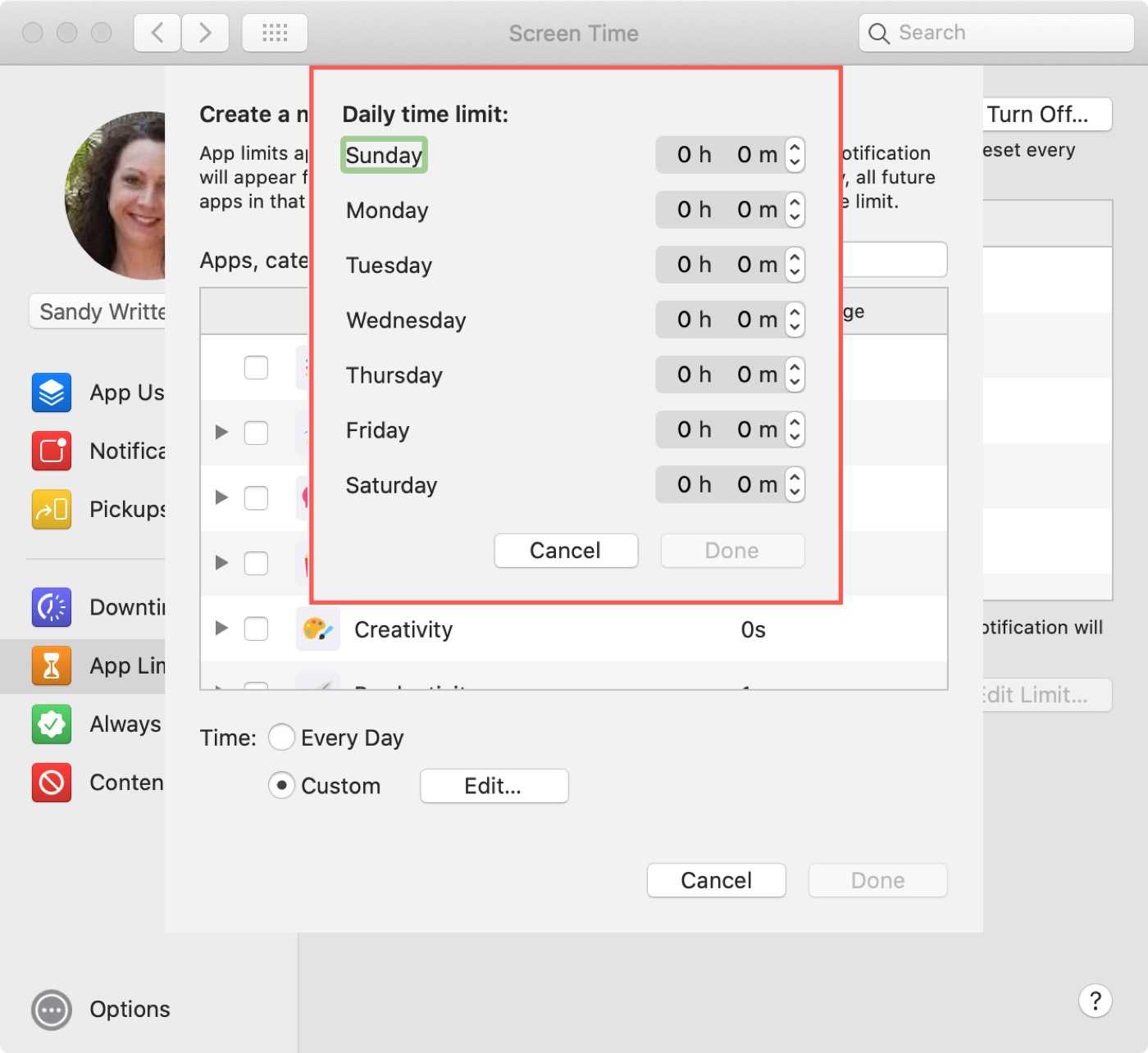 Screen Time App Time Limits on Mac
