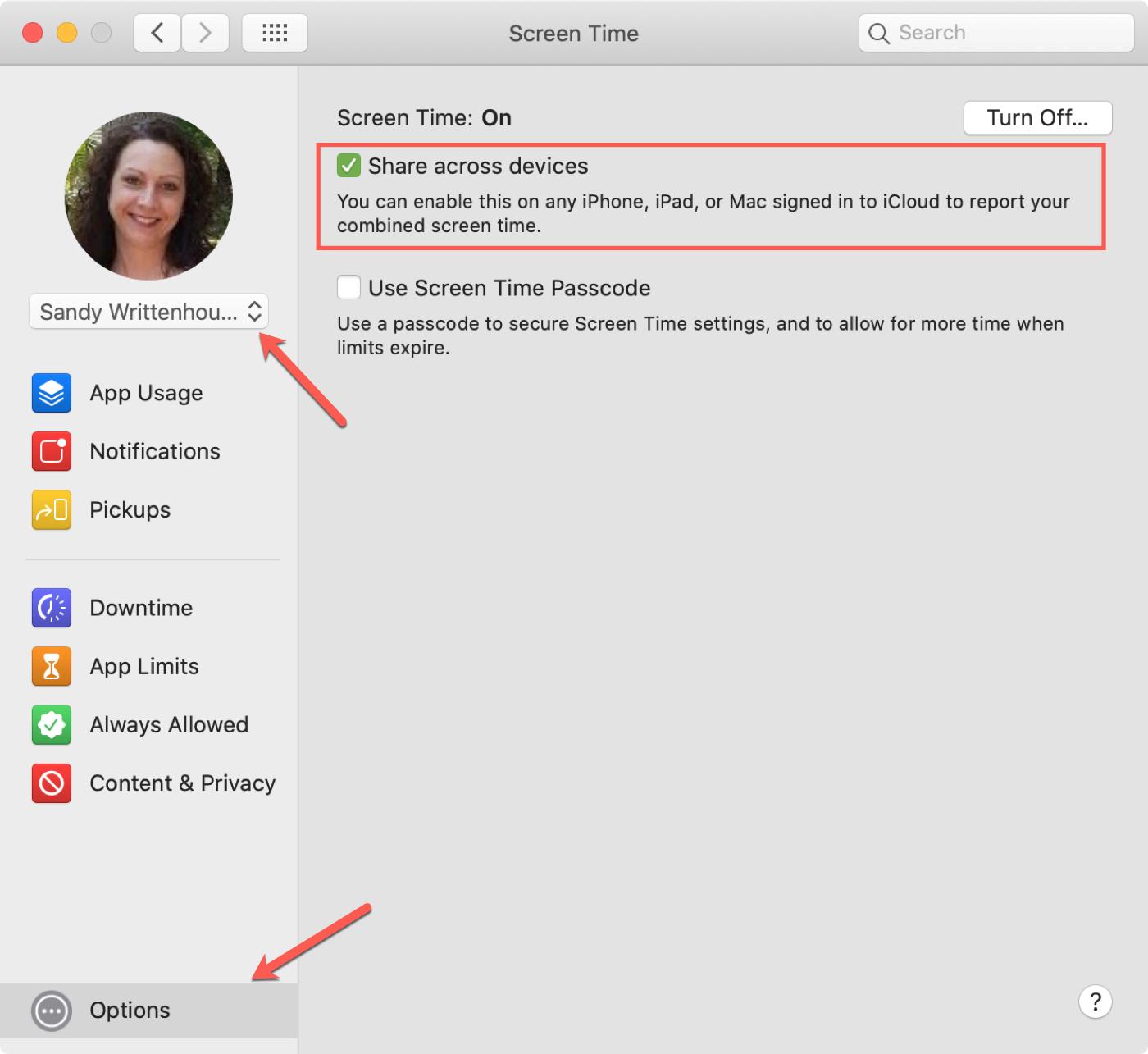 Screen Time Options on Mac