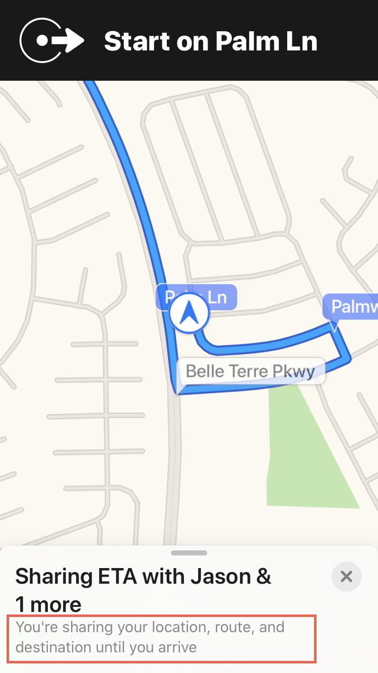 Sharing ETA Details Maps iPhone