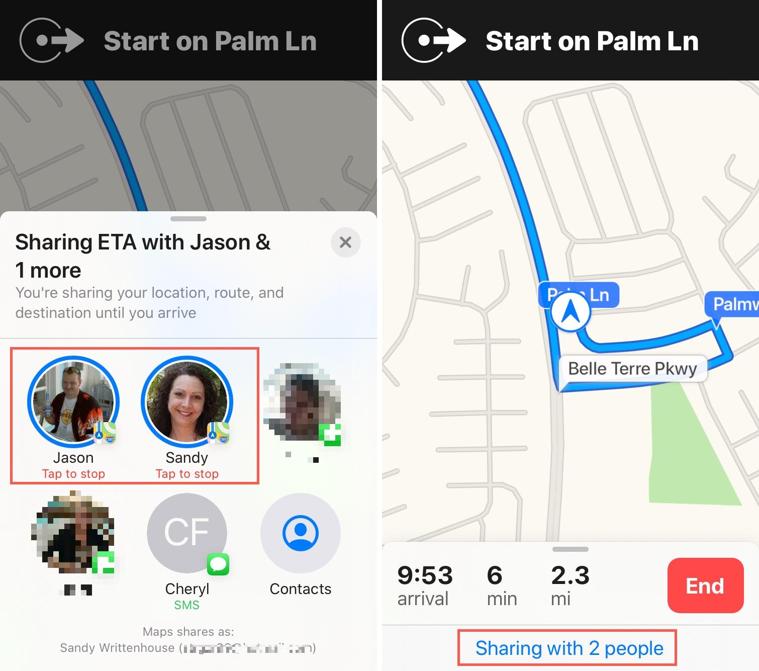 Sharing ETA Maps iPhone