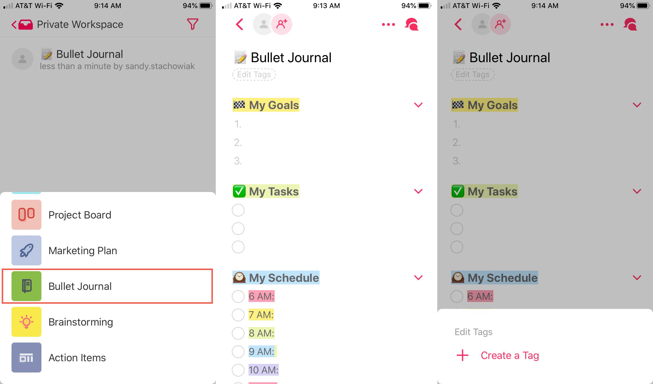 Taskade as bullet journal on iPhone