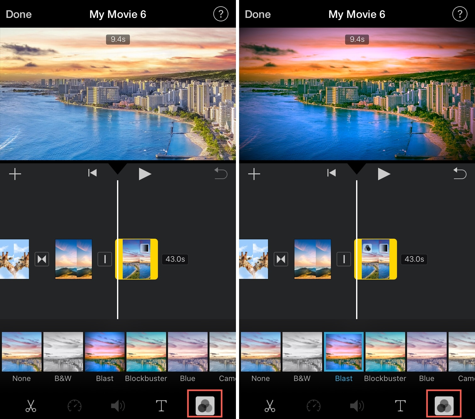 iMovie Clip Filters iPhone