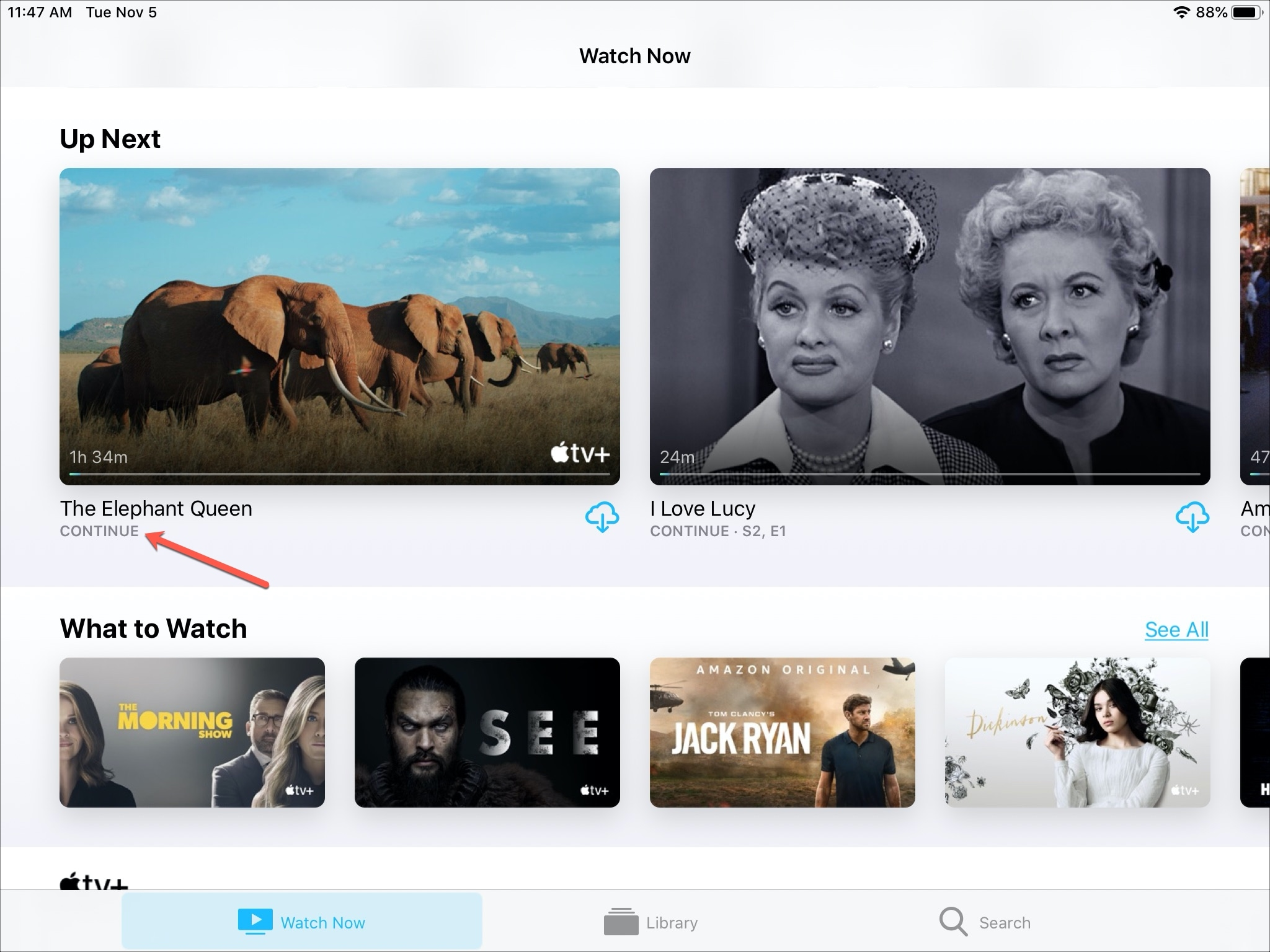 Apple TV+ Continue Watching