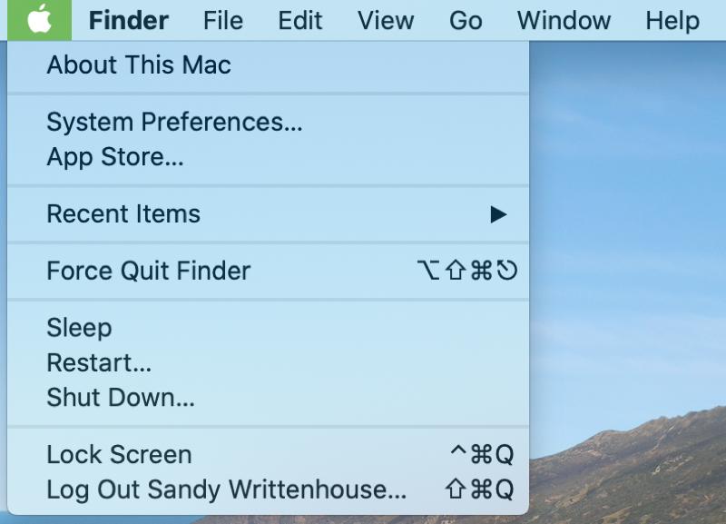 Apple menu in Menu Bar Mac