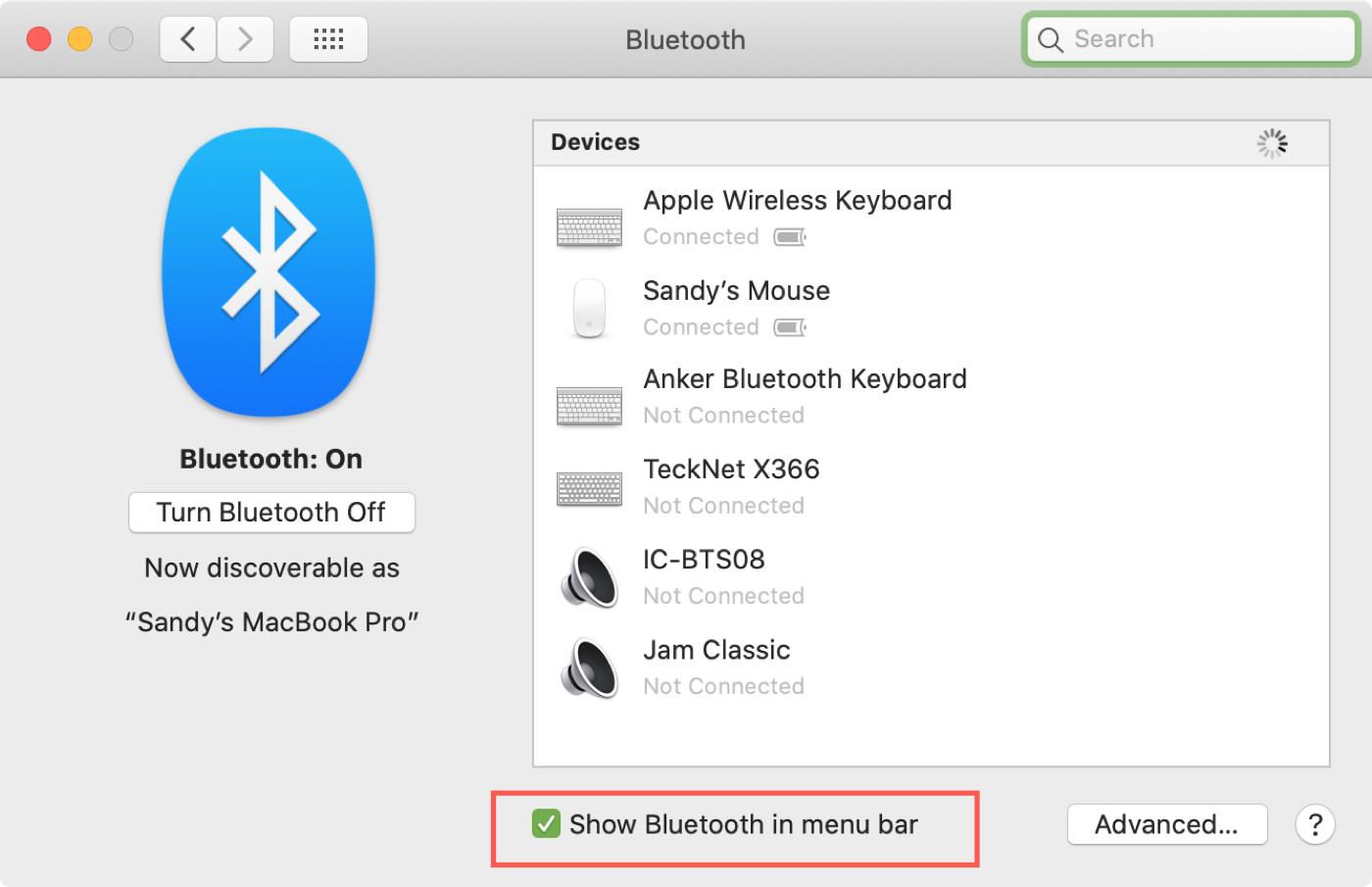 Bluetooth in Menu Bar Mac