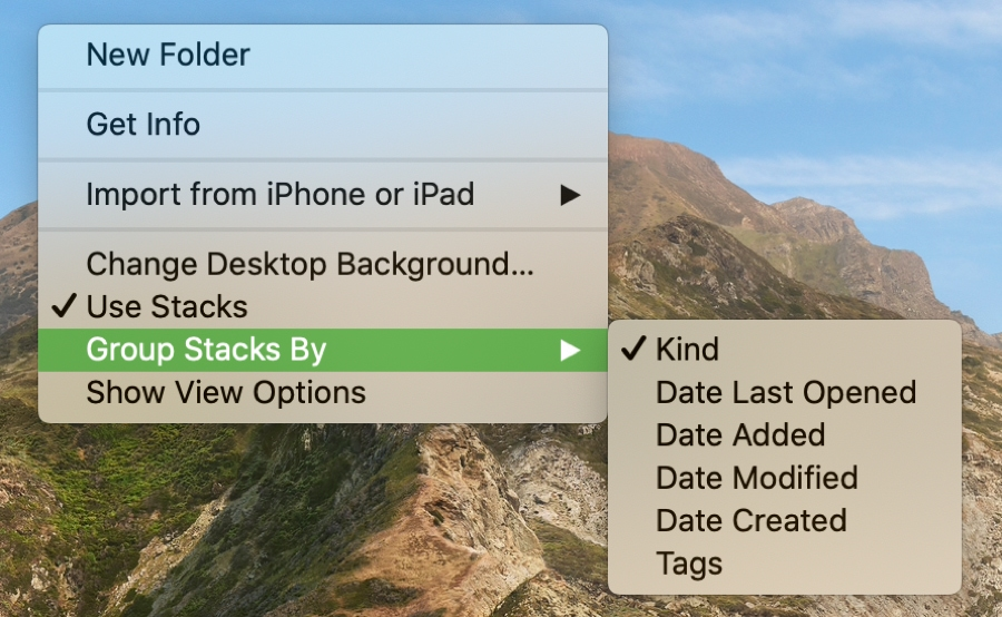 Group Stacks By on Mac desktop