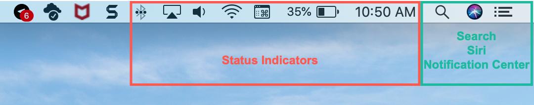 Mac Menu Bar Status Search Siri