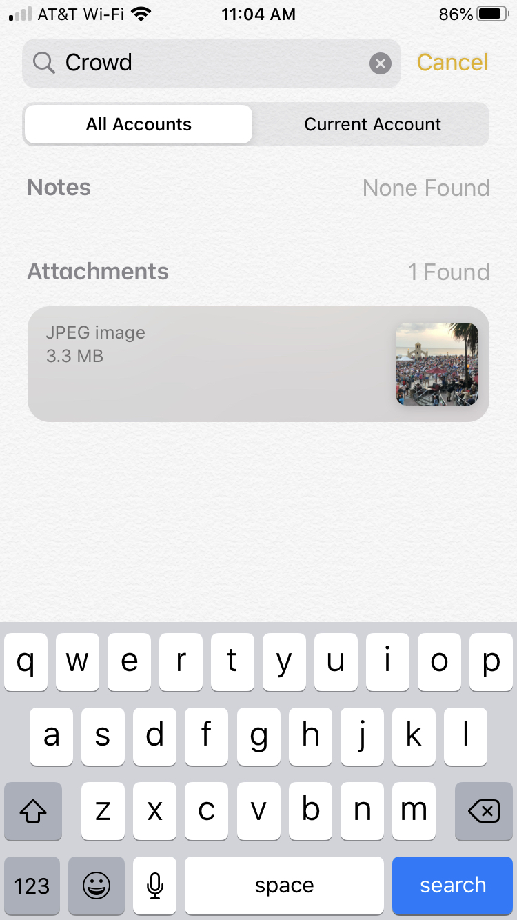 Search Image Notes iPhone
