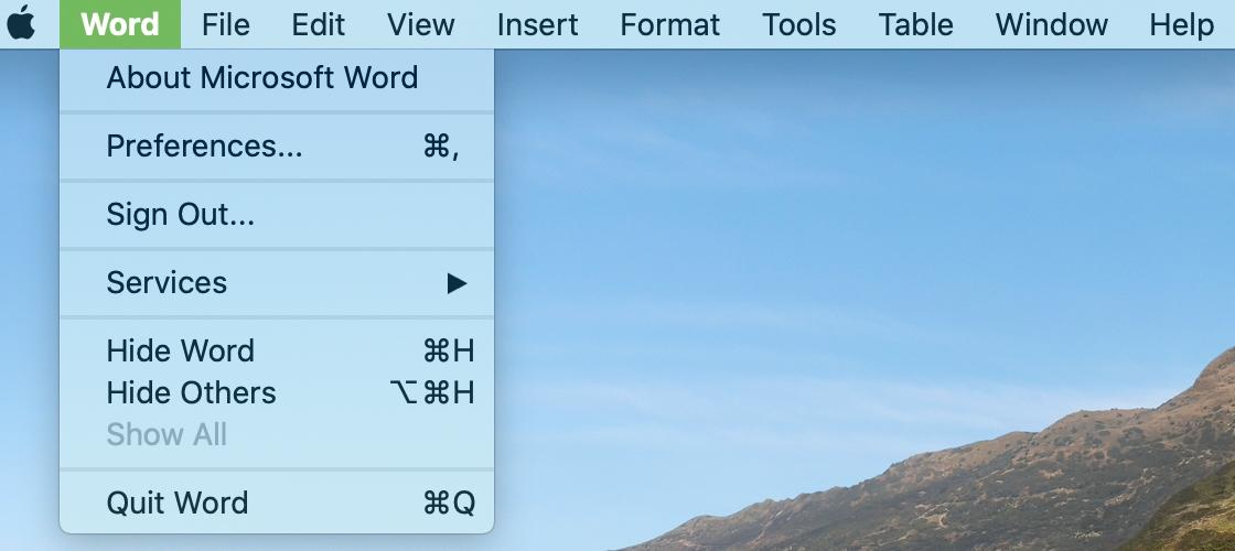 Word menu in Menu Bar Mac