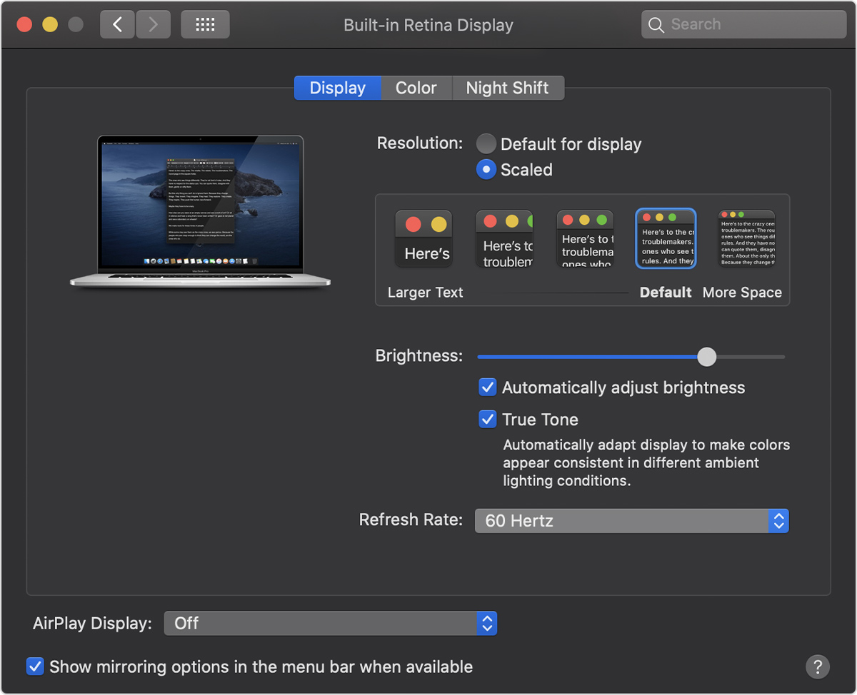 MacBook Pro Retina refresh rate