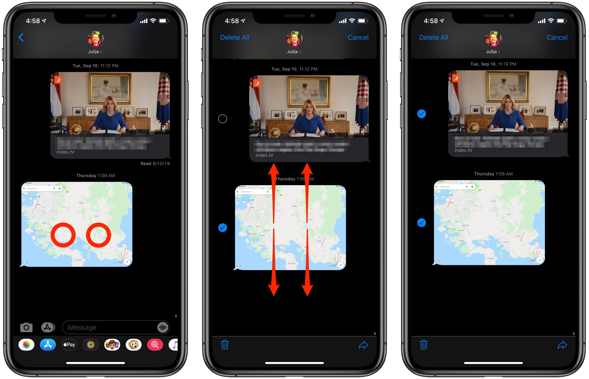 select chats with two-finger tap on iPhone